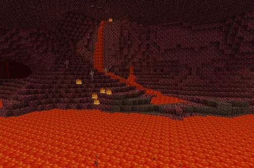 Ад в Minecraft - лавовое озеро
