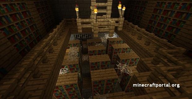Minecraft крепость - библиотека в крепости