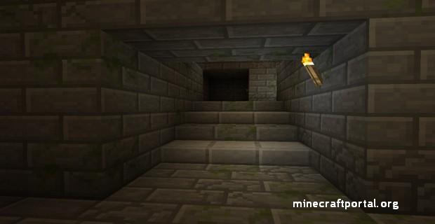 Minecraft крепость - обычная лестница в крепости