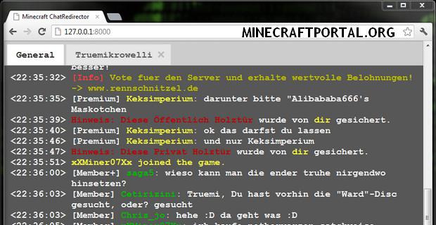 """Скачать мод """"Веб чат"""" для Minecraft 1.5.1 - Web Chat"""