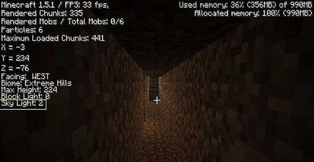 """Скачать мод """"Redefined F3"""" для Minecraft 1.5.2 - Улучшение меню F3"""